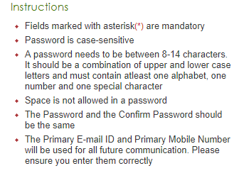 Instruction for select password