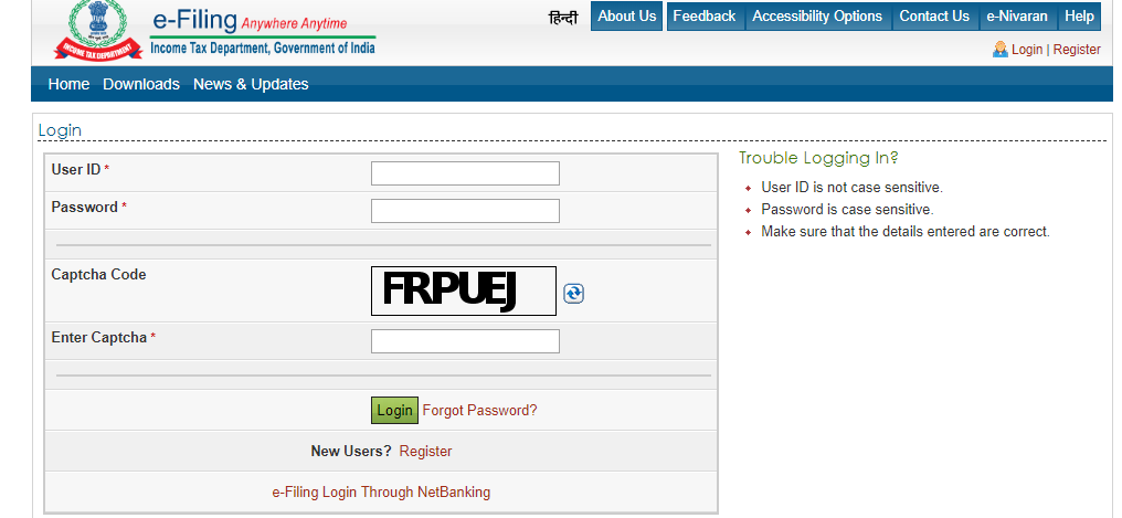 log in box. Put your user name and password