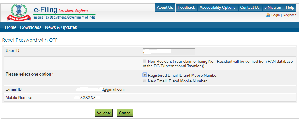 registered e-mail id and mobile number
