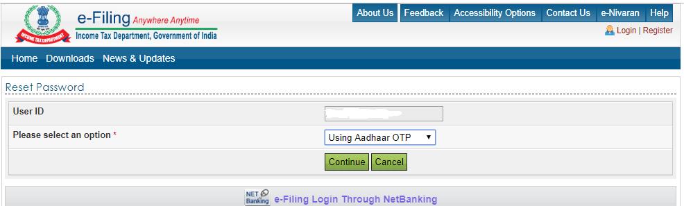 Using aadhaar OTP