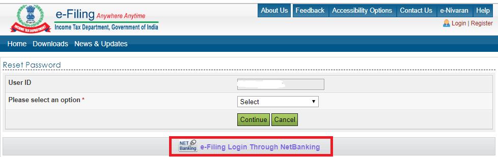 e-filing through net banking