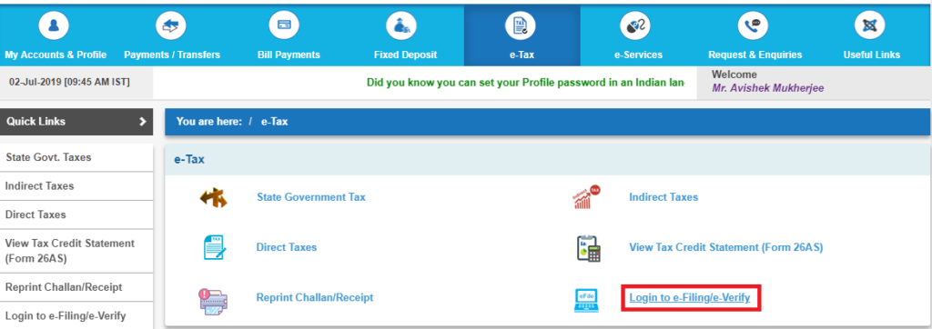 e-tax option in the bank portal
